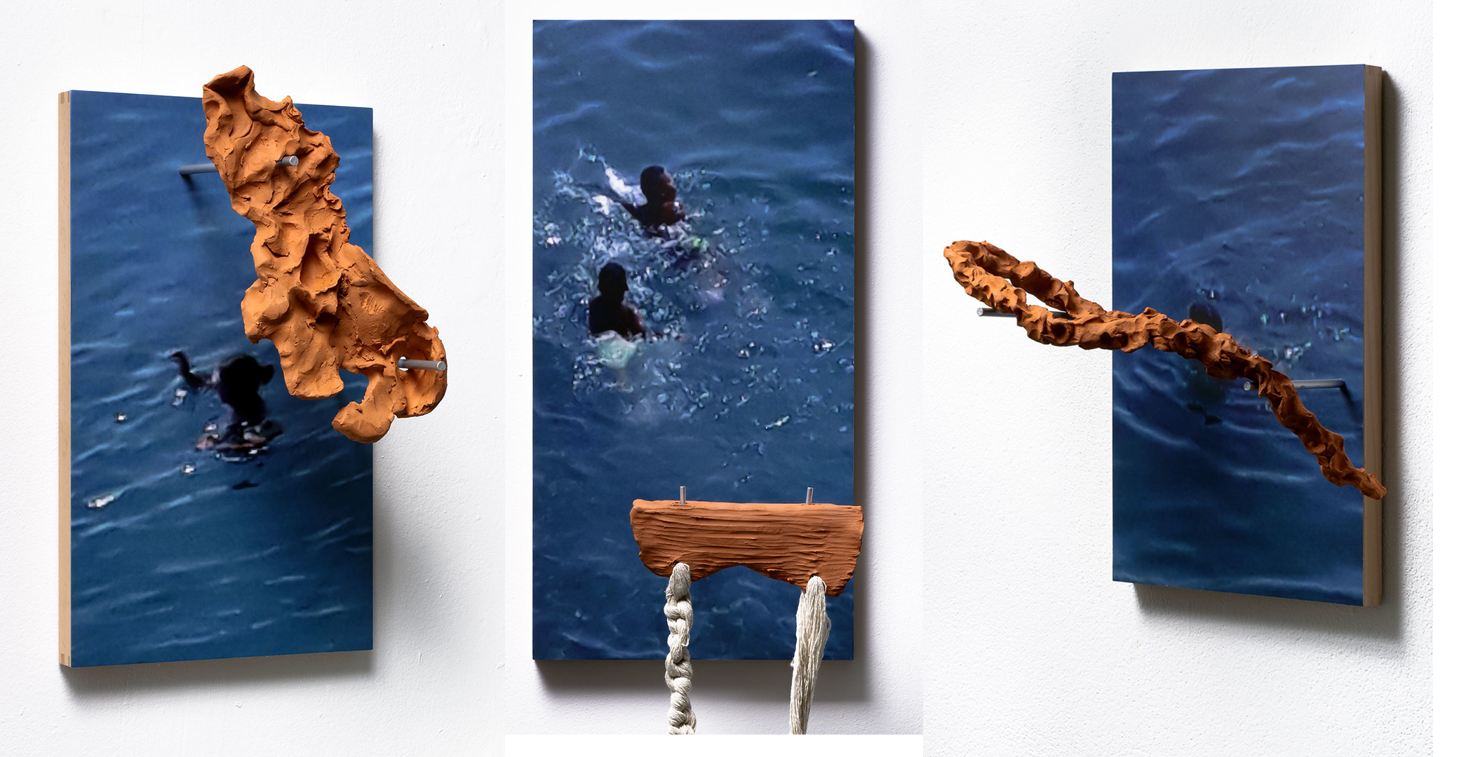 Bodies-Made-Of-Water-Series-of-7-sculptures-with-photographs-UV-Print-of-cell-phone-screen-grabs-on-wood-steel-hangers-terra-cotta-ceramics-30-x-60-cm-or-30-x-50-cm-2020-2